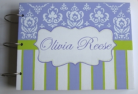 Lavender & Lime Damask Baby Shower Guest Book-Lavender and Lime damask personalized baby shower guest book