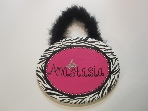 Hot Pink Zebra Plaque-