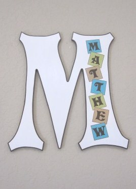 Baby Block Personalized Wall Letter Letters Nursery Painted Wooden