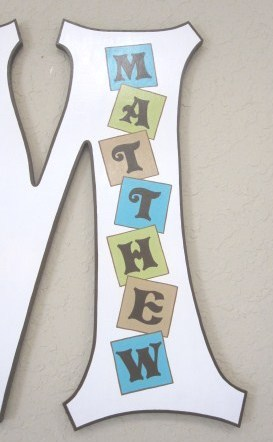 Baby Block Personalized  Wall Letter-Wall Letters, Nursery Letters, Painted Letters, Wooden Letters