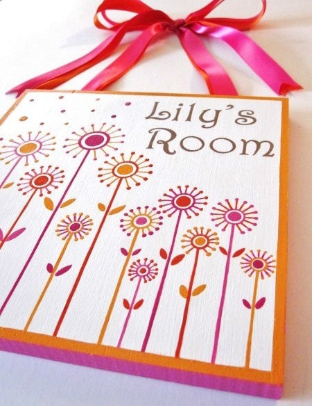 Dandelion Plaque-Dandelion nursery, painted plaques, painted door plaques,