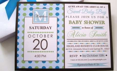 Monogram Blue Baby Shower Invites Baby Shower Invitations, Blue And Green Baby  Shower Invitations