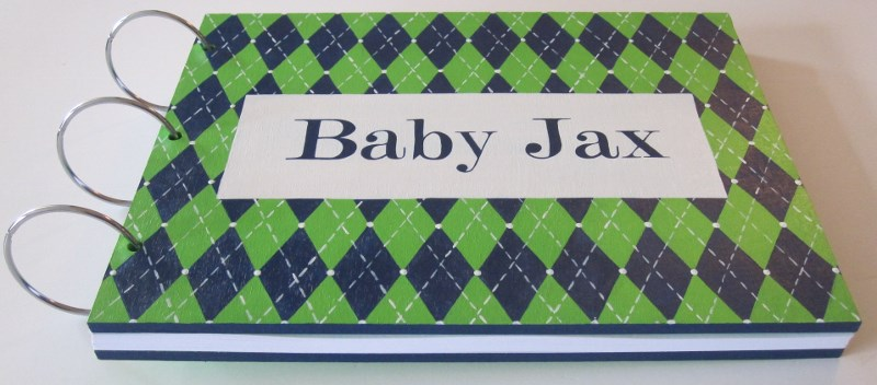 Navy & Green Argyle Baby Shower Guest Book-Argyle Baby Shower, Argyle nursery, Navy and Green Baby Shower