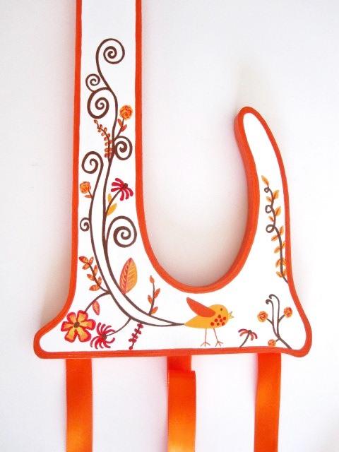 Orange Blossom Letter Bow Holder-Orange nursery Hair Bow Holder