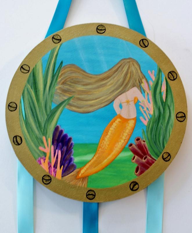 Porthole Mermaid Bow Holder-Mermaid Hair Bow Holder