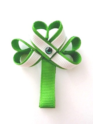 St Patrick's Day Shamrock Hair Clip-St Patrick's Day Shamrock Clover sculptured hair bow clip