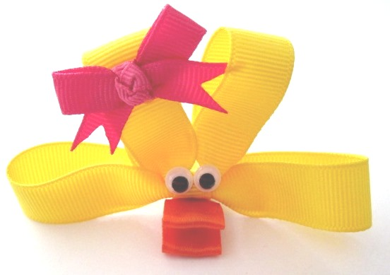 Ducky Hair Clip-Duck sculptured hair bow clip