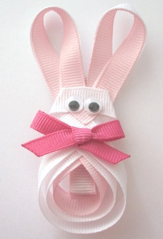 Easter Bunny Hair Clip-Easter bunny sculptured hair bow clip