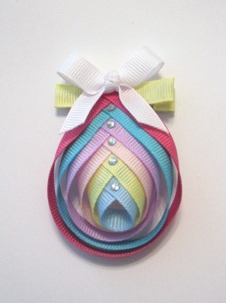 Easter Egg Hair Clip-Easter Egg sculptured hair bow clip