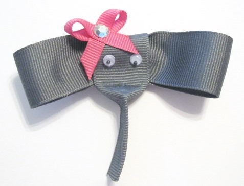 Elephant Hair Clip-Elephant sculptured hair bow clip