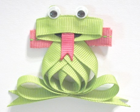 Froggy Hair Clip-Frog sculptured hair bow clip