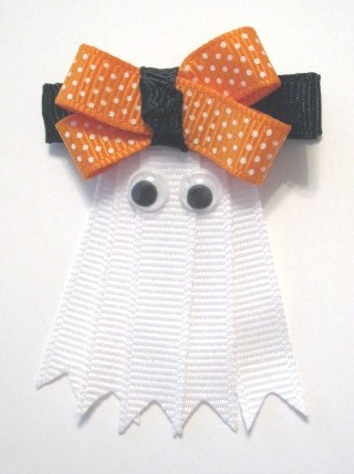 Halloween Ghost Hair Clip-Halloween sculptured hair bow ghost clip