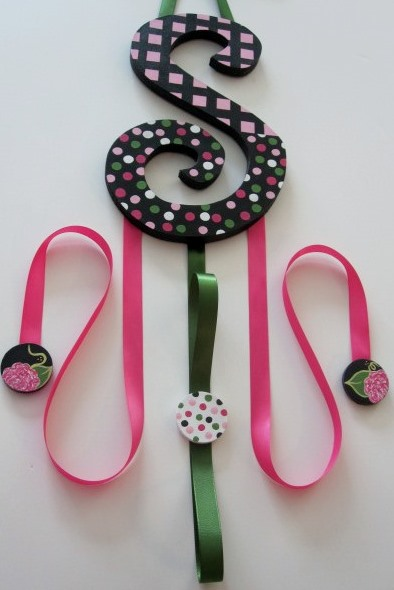 Midnight Bloom Letter Bow Holder-Pink and Green nursery Hair Bow Holder