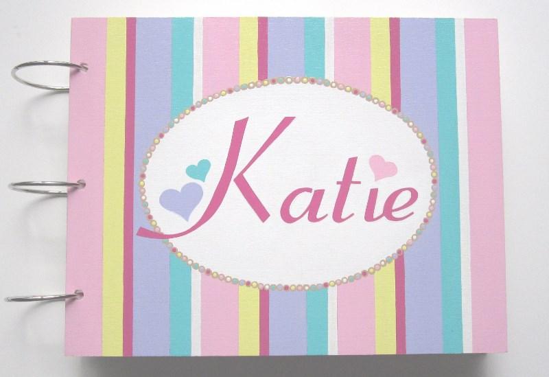 Candy Striped Baby Shower Guest Book-Personalized Custom Baby Shower Guest book