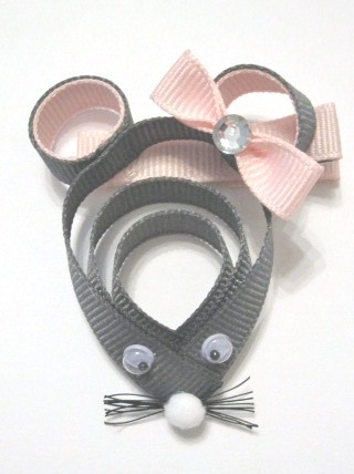 Mouse Hair Clip-Mouse sculptured hair bow clip