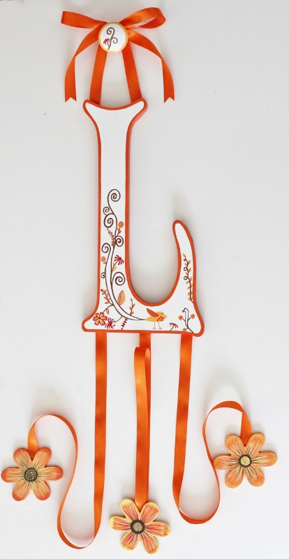 Orange Blossom Letter Bow Holder-Orange nursery Hair Bow Holder