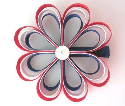 Patriotic Loop Flower Hair Clip-Flower sculptured hair bow clip
