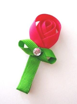 Rose Bud Hair Clip-Rose Bud hair bow clip