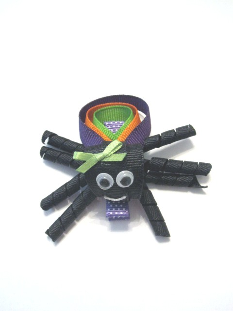 Halloween Spider Hair Clip-Halloween sculptured hair bow spider clip
