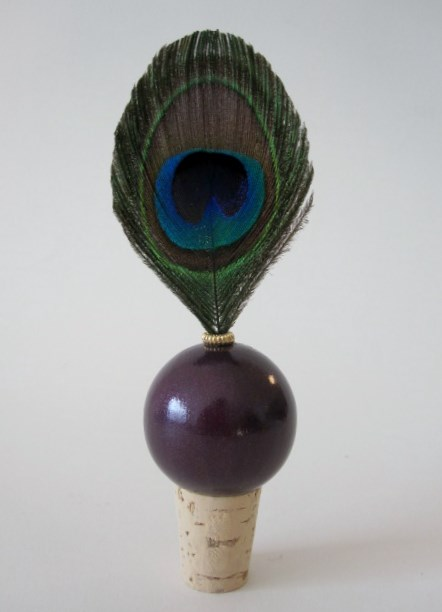 Signature Trimmed Peacock Wine Bottle Topper-wine cork Peacock wedding favors