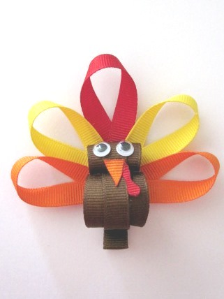 Thanksgiving Turkey Hair Clip-Thanksgiving turkey sculptured hair bow clip