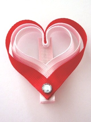 Valentine's Day Heart Hair Clip-Valentine's Day Heart sculptured hair bow clip