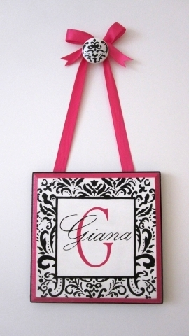Damask Monogram Plaque with Name-black and white damask monogram personalized plaque