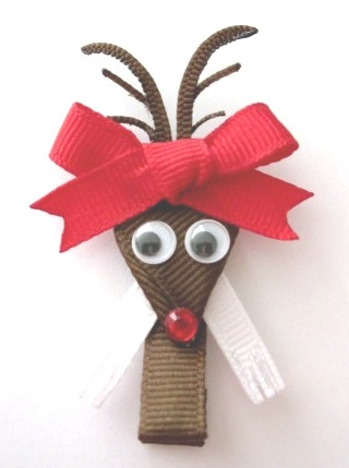 Christmas Rudolph Hair Clip-Rudolph the Red Nosed Reindeer sculptured hair bow clip