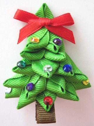 Christmas Tree 3D Hair Clip-Christmas Tree sculptured hair bow clip
